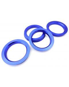 4 Zentrierringe Alu Aluminium Blau 73,1 mm - 57,1 mm