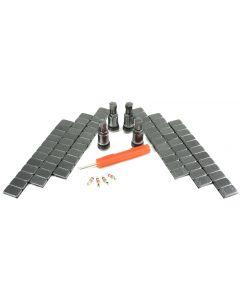 4x11,3mm Alu Ventile Anthrazit+480g Gewichte + 1 x Ventildreher+4 x Ventileinsätze